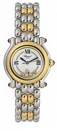 Chopard Happy Sport Series 18kt Yellow Gold and Steel Ladies Diamond Watch 278256-23