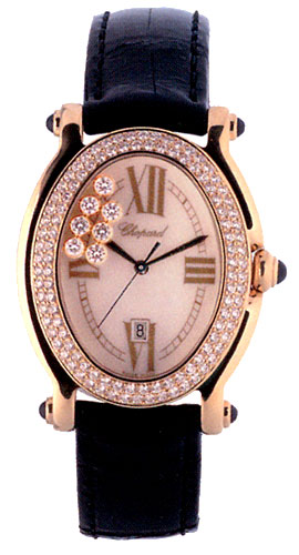 Chopard Happy Sport Series 18kt Yellow Gold Black Ladies Diamond Watch 277012-23