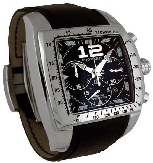 Chopard Miglia Tycoon Series Steel Black Chronograph Mens Swiss Quartz Watch 168961