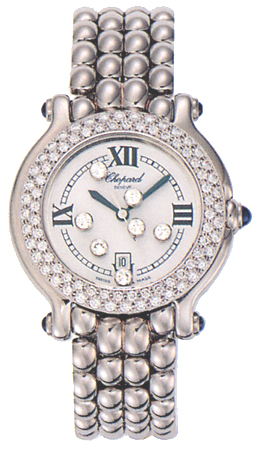 Chopard Happy Sport Series Diamond Steel Ladies Swiss Quartz Wristwatch 278291-23