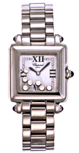 Chopard Happy Sport Series Diamond Steel Ladies Swiss Quartz Wristwatch 278349-23
