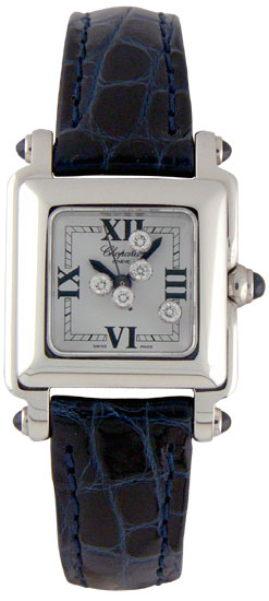 Chopard Happy Sport Series Diamond Steel Ladies Swiss Quartz Wristwatch 278892-23 in Deep Blue