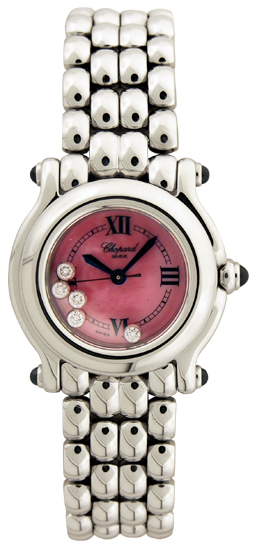 Chopard Happy Sport Series Diamond Stainless Steel Pink Mother-of-pearl Ladies Swiss Quartz Wristwatch 278250-23