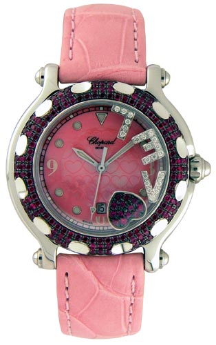 Chopard Happy Sport Series Ruby Love Heart 18kt White Gold Steel Ladies Diamond Watch 278945-421 in Pink