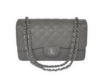 Chanel Jumbo Quilted Classic Cannage Patterns Flap Bag A58600 Grey Silver