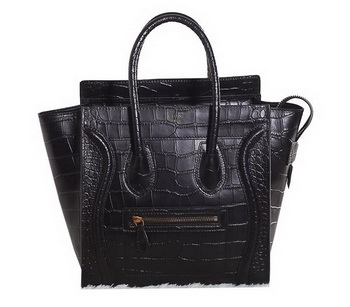 Celine Luggage Micro Boston Bag All Croco Leather 3307 Black