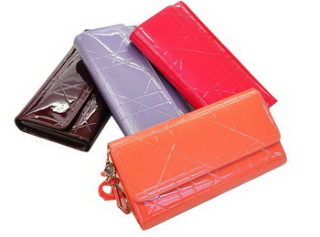 Christian Dior Patent Leather Cannage Continental Wallet