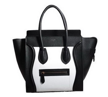 Celine Luggage Micro Boston Bag Original Leather 3307 Black&White