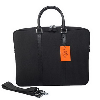 Hermes Mens Briefcase Canvas & Leather H1656 Black