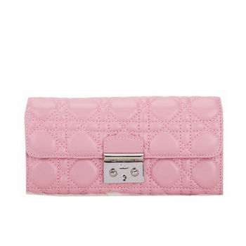 Dior Flap Wallet in Sheepskin Leahter D012 Pink