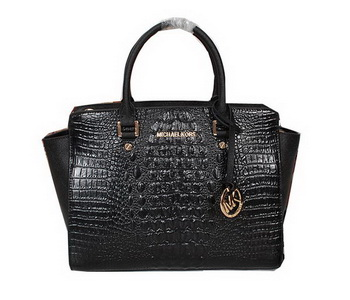 Michael Kors Selma Bag in Croco Leather MK0909 Black