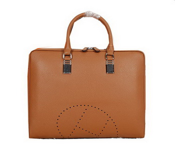 Hermes Briefcase Grainy Calf Leather H8253 Wheat