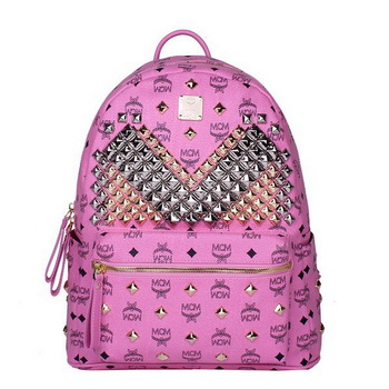MCM Medium Stark Front Studs Backpack MC4238 Rosy