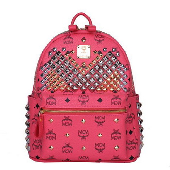 MCM Small Stark Front Studs Backpack MC4237S Red