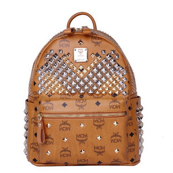 MCM Small Stark Front Studs Backpack MC4237S Wheat