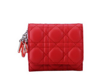 Dior Bi-Flod Wallet in Lambskin Leahter CD085 Red