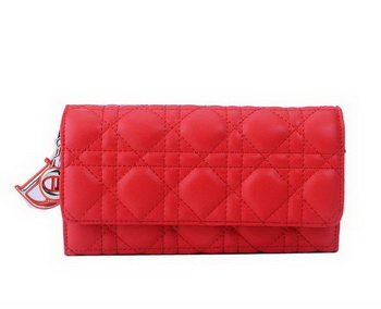 Dior Bi-Flod Wallet in Lambskin Leahter CD086 Red