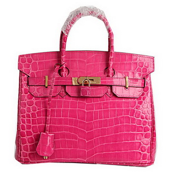 Hermes Birkin 30CM Tote Bags Peach Croco Leather Gold