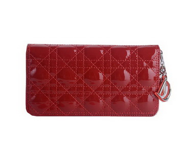 Lady Dior Escapade Wallet Patent Leahter CD189 Red
