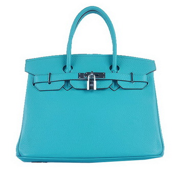 Hermes Birkin 30CM Tote Bags Light BLue Grainy Leather Silver