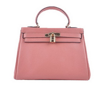 Hermes Kelly 28cm Shoulder Bags Light Pink Grainy Leather Gold