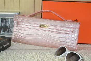 Hermes Kelly Clutch Bag Croco Leather K31 Light Pink