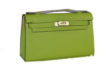 Hermes MINI Kelly 22cm Tote Bag Calfskin Leather Green