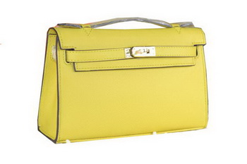 Hermes MINI Kelly 22cm Tote Bag Calfskin Leather Lemon