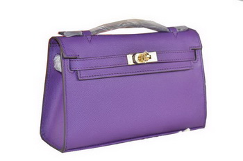 Hermes MINI Kelly 22cm Tote Bag Calfskin Leather Purple