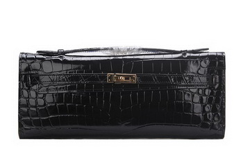 Hermes Kelly Clutch Bag Croco Leather K1002 Black