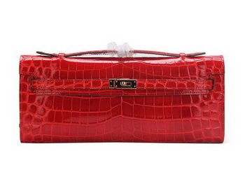 Hermes Kelly Clutch Bag Croco Leather K1002 Red