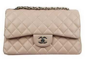 Chanel Classic Flap Bag Beige Original Leather CF1113 Silver
