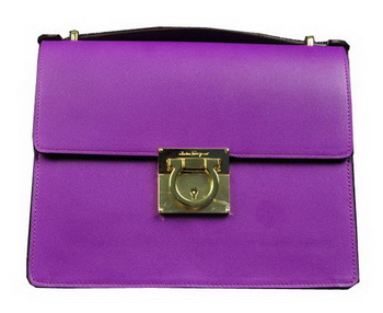 Ferragamo Calfskin Leather Medium Shoulder Bag SF0614 Lavender