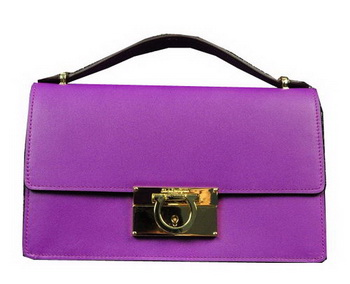 Ferragamo Calfskin Leather Small Shoulder Bag SF0615 Lavender