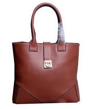 Ferragamo Medium Tote Bag Calfskin Leather 13725 Brown