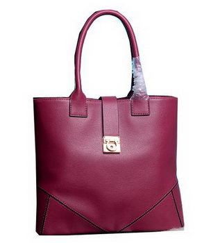 Ferragamo Medium Tote Bag Calfskin Leather 13725 Wine