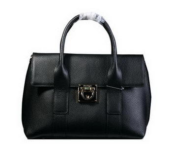 Ferragamo Medium Tote Bag Calfskin Leather 21D941 Black