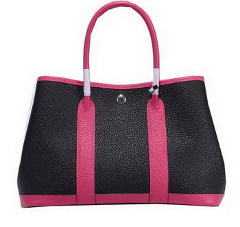 Hermes Garden Party 30cm Tote Bags Grainy Leather Black&Rose