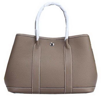 Hermes Garden Party 30cm Tote Bags Grainy Leather Grey