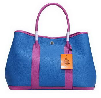 Hermes Garden Party 36cm Tote Bag Grainy Leather Blue&Purple