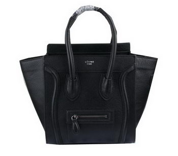 Celine Luggage Micro Boston Bag Clemence Leather CT33081 Black