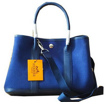 Hermes Garden Party 30cm Tote Bags Original Leather Blue