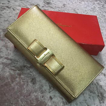 Ferragamo Continental Wallet Calfskin Leather SF30200 Gold
