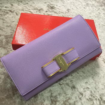 Ferragamo Continental Wallet Calfskin Leather SF30200 Lavender