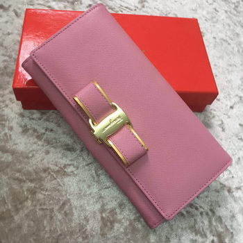 Ferragamo Continental Wallet Calfskin Leather SF30200 Pink