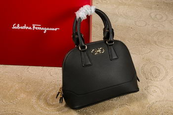 Ferragamo Medium Double Gancio Tote Bag 21E703 Black