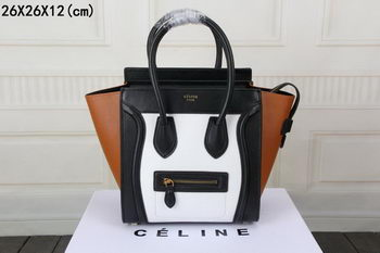 Celine Luggage Micro Boston Bag Original Leather CT33081 White&Black&Brown