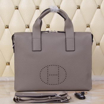 Hermes Briefcase Original Grainy Leather H8813T Grey