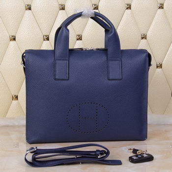 Hermes Briefcase Original Grainy Leather H8813T Royal