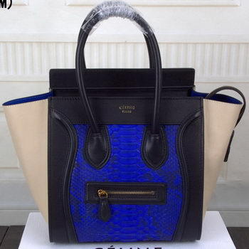 Celine Luggage Micro Boston Bag Snake Leather CT3308M Blue&Black&OffWhite